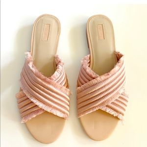 Blush Pink Criss Cross Slides